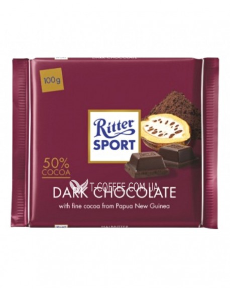 Шоколад Ritter Sport Dark Chocolate Черный Шоколад 100 г (4000417020000)