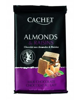 Шоколад CACHET Milk Chocolate Almonds Raising Молочний Мигдаль Родзинки 300 г (5412956216476)