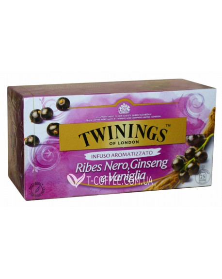 Чай TWININGS Ribes Nero Ginseng Vanglia Черная Смородина Женьшень Ваниль 25 х 2 г