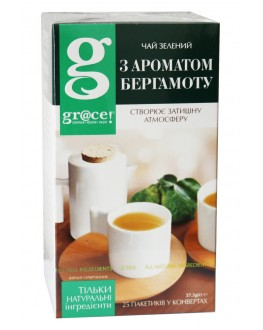 Чай GRACE! Fine Green Tea with Bergamot Aroma Зелений з Ароматом Бергамоту 25 х 1,5 г (5060207690416)