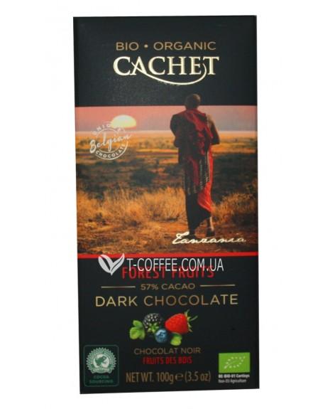 Шоколад Cachet Bio Organic Dark Chocolate Forest Fruits Черный Шоколад Лесные Ягоды 100 г (5412956213475)