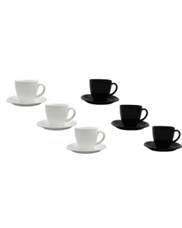 Набор чашек с блюдцами LUMINARC Carine Black&White на 6 персон