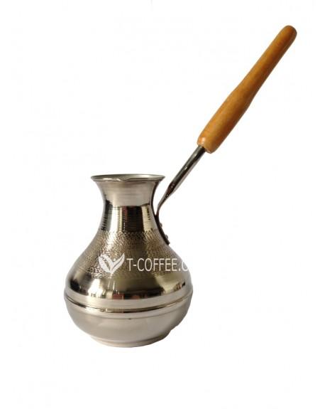 Турка Медная Восточная Красавица с вертикальной ручкой Серебро 350 мл