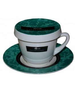 Чашка з блюдцем DILMAH Exceptional Зелена порцелянова 250 мл