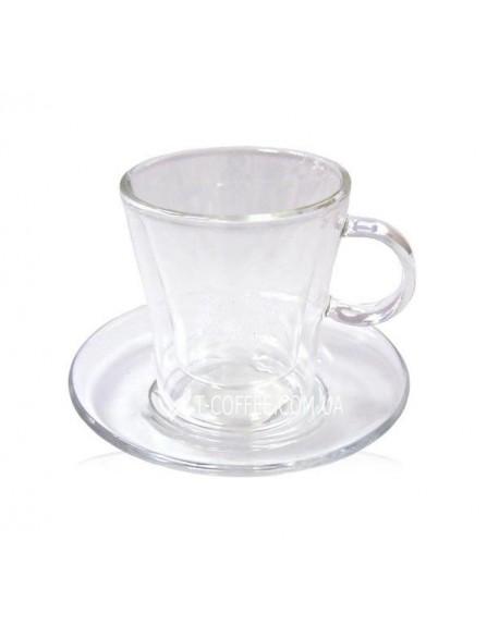 Чашка с блюдцем Эспрессо стеклянная 85 мл