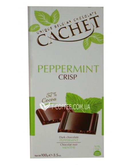 Шоколад Cachet Dark Chocolate Peppermint Crisp Черный Шоколад Мята 100 г (5412956213741)