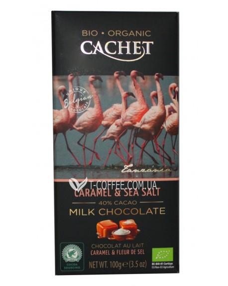 Шоколад Cachet Bio Organic Milk Chocolate Caramel Sea Salt Молочный Шоколад Карамель Соль 100 г (5412956213482)
