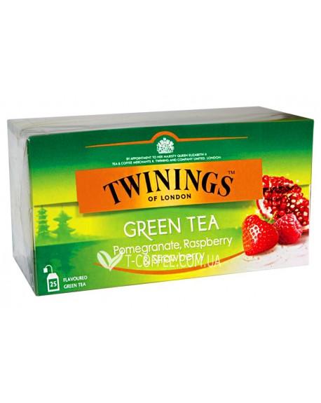 Чай TWININGS Green Tea Pomegranate Raspberry Strawberry Зеленый Гранат Малина Клубника 25 х 2 г (070177173791)