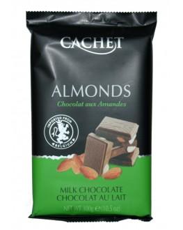 Шоколад CACHET Milk Chocolate Almonds Молочний Мигдаль 300 г (5412956216421)