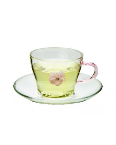 Чашка с блюдцем Цветок Сакуры стеклянная 150 мл