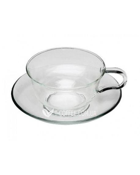 Чашка с блюдцем Закат стеклянная 150 мл