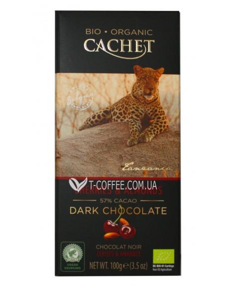 Шоколад Cachet Bio Organic Dark Chocolate Cherries Almonds Черный Шоколад Вишня Миндаль 100 г (5412956213451)