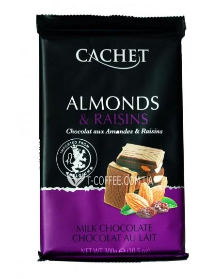 Шоколад Cachet Milk Chocolate Almonds Raising Молочный Шоколад Миндаль Изюм 300 г (5412956216476)