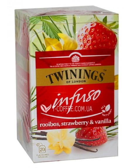 Чай TWININGS Infuso Rooibos Strawberry Vanilla Ройбуш Клубника Ваниль 20 х 2 г (070177177706)