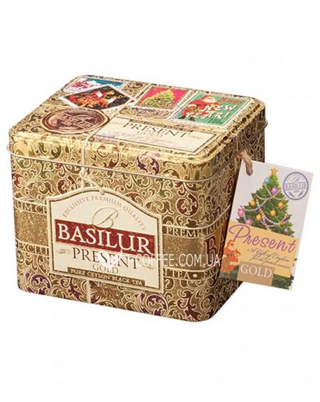 Чай BASILUR Gold Caddy Золотой Подарок - Праздничная 100 г ж/б (4792252100190)