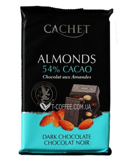 Шоколад Cachet Dark Chocolate Almonds Черный Шоколад Миндаль 300 г (5412956216445)