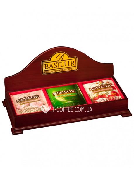 Шкатулка для чая открытая BASILUR Wooden Boxes 3 ячейки