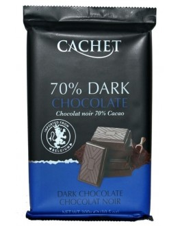 Шоколад CACHET Dark Chocolate Чорний 70% какао 300 г (5412956216452)