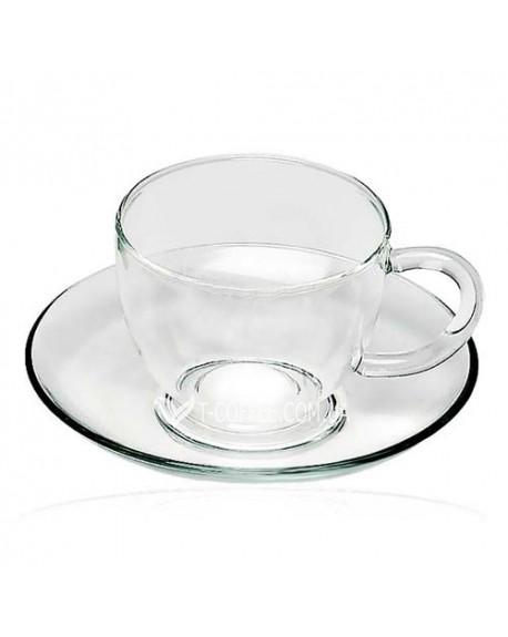 Чашка с блюдцем Каролина стеклянная 150 мл