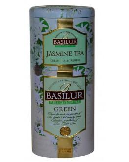 Чай BASILUR Jasmine Tea Green Tea Жасминовый Зеленый - Цветы и Фрукты Цейлона 125 г ж/б (4792252100640)