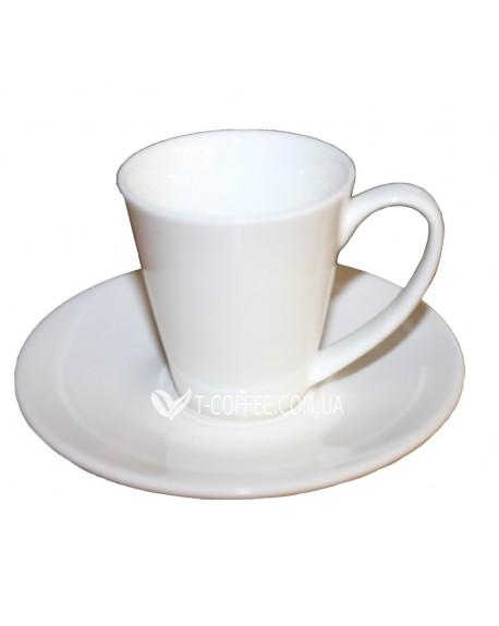 Чашка с блюдцем Wilmax для американо фарфоровая 110 мл
