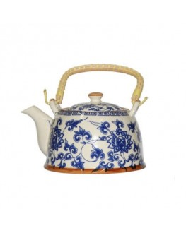 Чайник з металевим ситом Блакитна Хризантема 900 мл