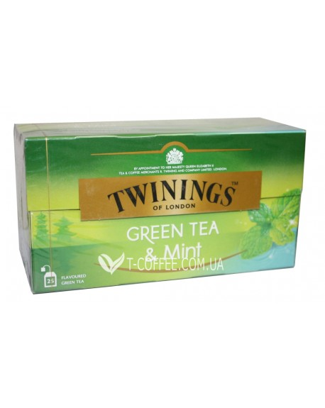 Чай TWININGS GREEN TEA Mint Зеленый Мята 25 х 1,5 г (070177173203)