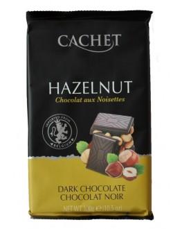 Шоколад CACHET Dark Chocolate Hazelnut Чорний Фундук 300 г (5412956216490)