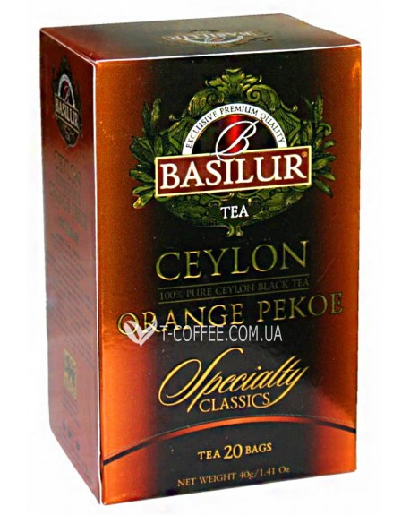 Чай BASILUR Ceylon Orange Pekoe Цейлонский Оранж Пеко - Избранная Классика 20 х 2 г (4792252001053)