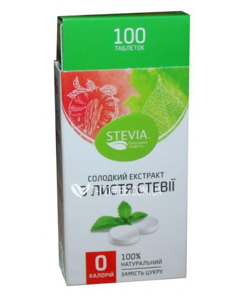 Заменитель сахара с экстрактом стевии в таблетках 100 шт (4820130350044)