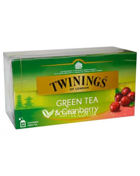 Чай TWININGS Green Tea Cranberry Зеленый Клюква 25 х 1,8 г (070177173333)