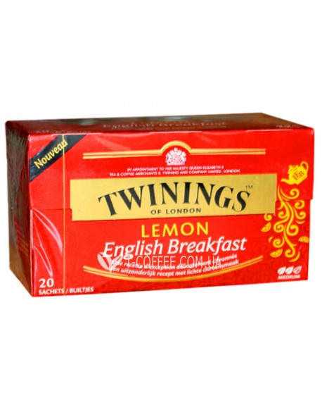 Чай TWININGS English Breakfast Lemon Английский Завтрак с лимоном 20 х 1,5 г