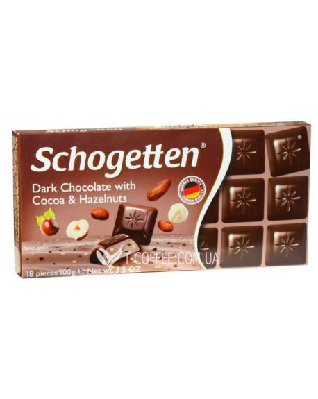 Шоколад Schogetten Dark Chocolate Cocoa Hazelnuts Черный Шоколад Какао Фундук 100 г (4000415004408)