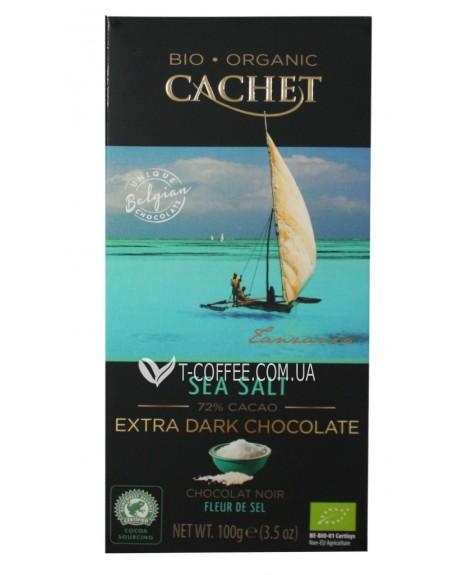 Шоколад Cachet Bio Organic Extra Dark Chocolate Sea Salt Экстра Черный Шоколад Соль 72% какао 100 г (5412956213437)