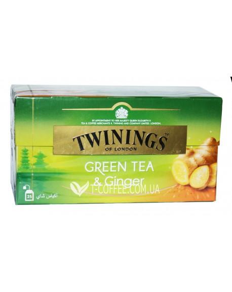 Чай TWININGS Green Tea Ginger Зеленый чай Имбирь 25 х 1.6 г (070177173821)