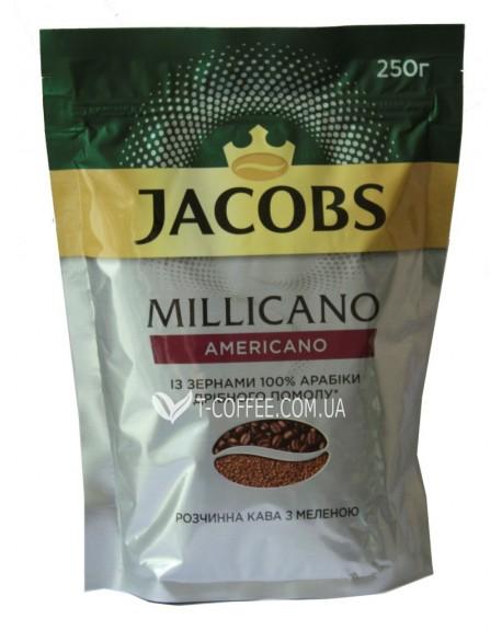 Кофе Jacobs Millicano Americano цельнозерновой растворимый 250 г эконом. пак. (8714599103487)
