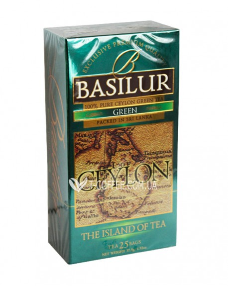Чай BASILUR Green Зеленый - Чайный Остров 25 х 1,5 г (4792252917231)