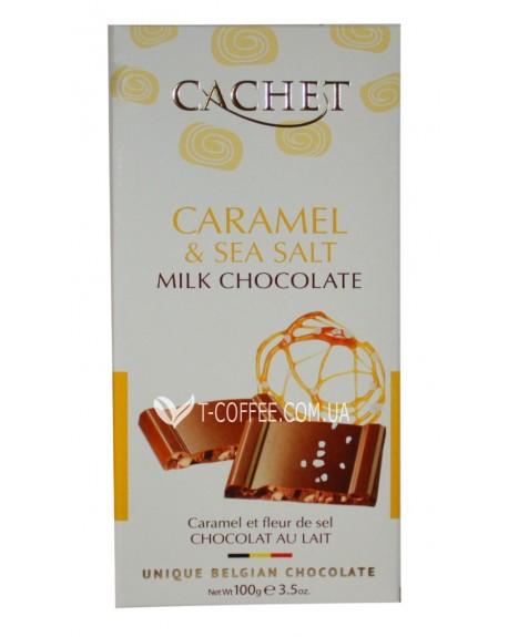 Шоколад Cachet Milk Chocolate Caramel Sea Salt Молочный Шоколад Карамель Соль 100 г (5412956213734)