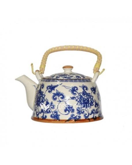 Чайник с металлическим ситом Голубая Хризантема 900 мл