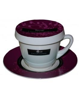 Чашка з блюдцем DILMAH Exceptional Бордо порцелянова 250 мл