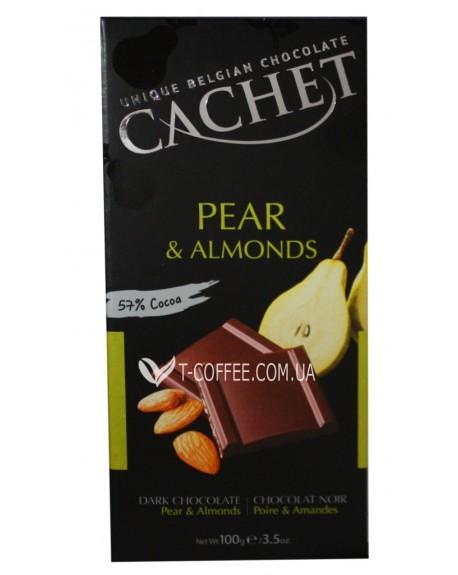 Шоколад Cachet Dark Chocolate Pear Almonds Черный Шоколад Груша Миндаль 100 г (5412956214526)