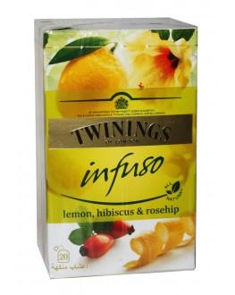 Чай TWININGS Infuso Lemon Hibiscus Rosehip Лимон Гібіскус Шипшина 20 х 2 г (070177177669)