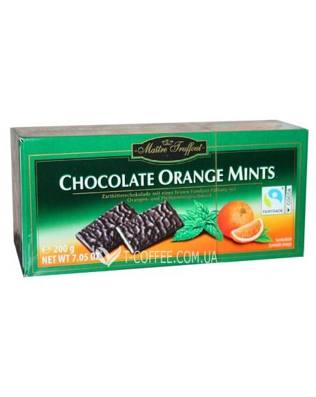 Шоколад Maitre Truffout Chocolate Orange Mints Апельсин Мята 200 г (9002859067570)