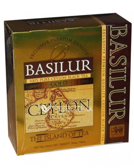 Чай BASILUR Gold Золотой - Чайный Остров 100 х 2 г (4792252925939)