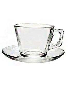 Чашка с блюдцем PASABAHCE Vela стеклянная 205 мл