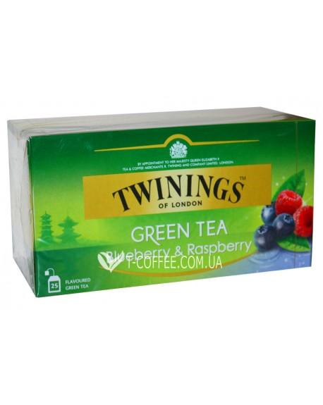 Чай TWININGS Green Tea Blueberry Raspberry Зеленый Черника Малина 25 х 1,6 г (070177173371)