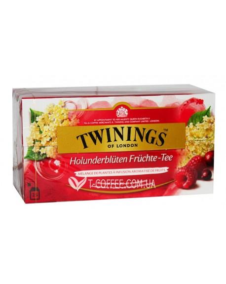 Чай TWININGS Cranberry Raspberry Elderflower Клюква Малина Цветы Бузины 25 х 2 г (070177212469)