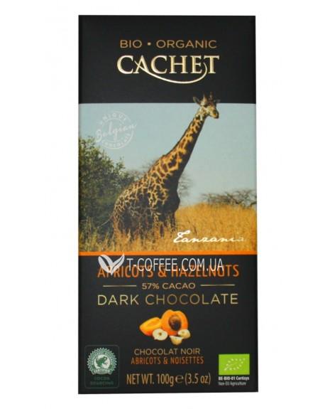 Шоколад Cachet Bio Organic Dark Chocolate Apricots Hazelnuts Черный Шоколад Абрикос Лесной Орех 100 г (5412956213468)