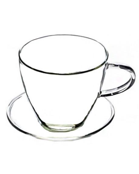 Чашка с блюдцем Для Кофе стеклянная 130 мл