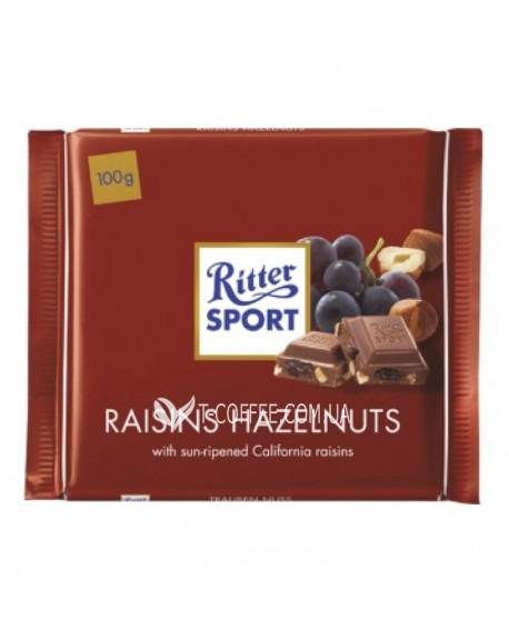 Шоколад Ritter Sport Raisins Hazelnuts Изюм Фундук 100 г (4000417022004)